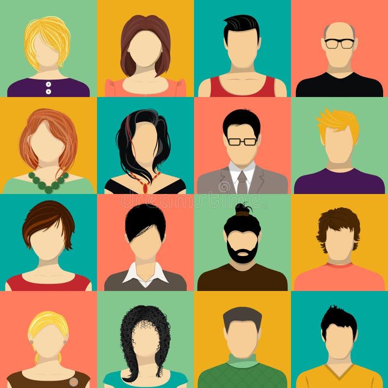 Fastställda vektorsymboler för framsida Samling av användaren, avatar, profilsymboler stock illustrationer