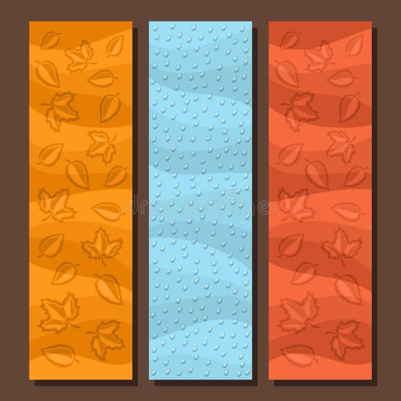 Fastställda vertikala baner för vektor för höstsäsong royaltyfri illustrationer