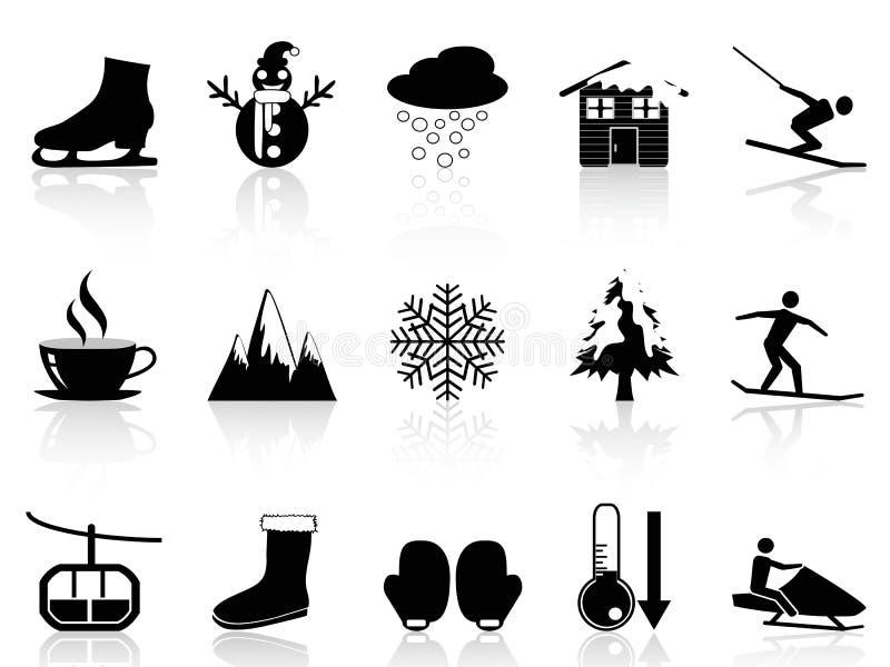 Fastställda vintersymboler stock illustrationer