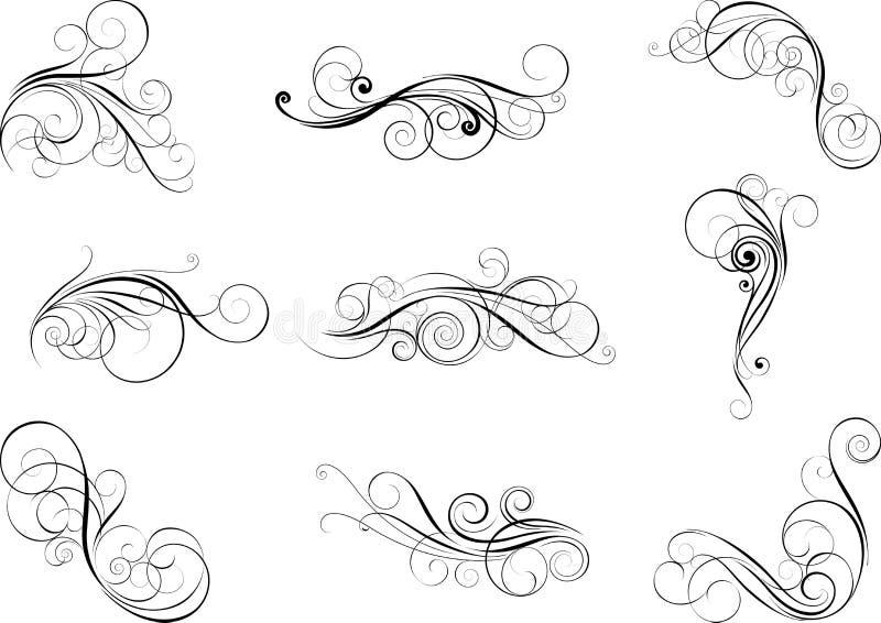 Fastställda virveldesignbeståndsdelar stock illustrationer