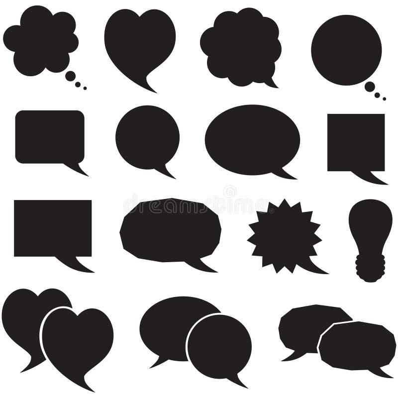 Fastställdt silhouetteanförande bubblar vektor illustrationer