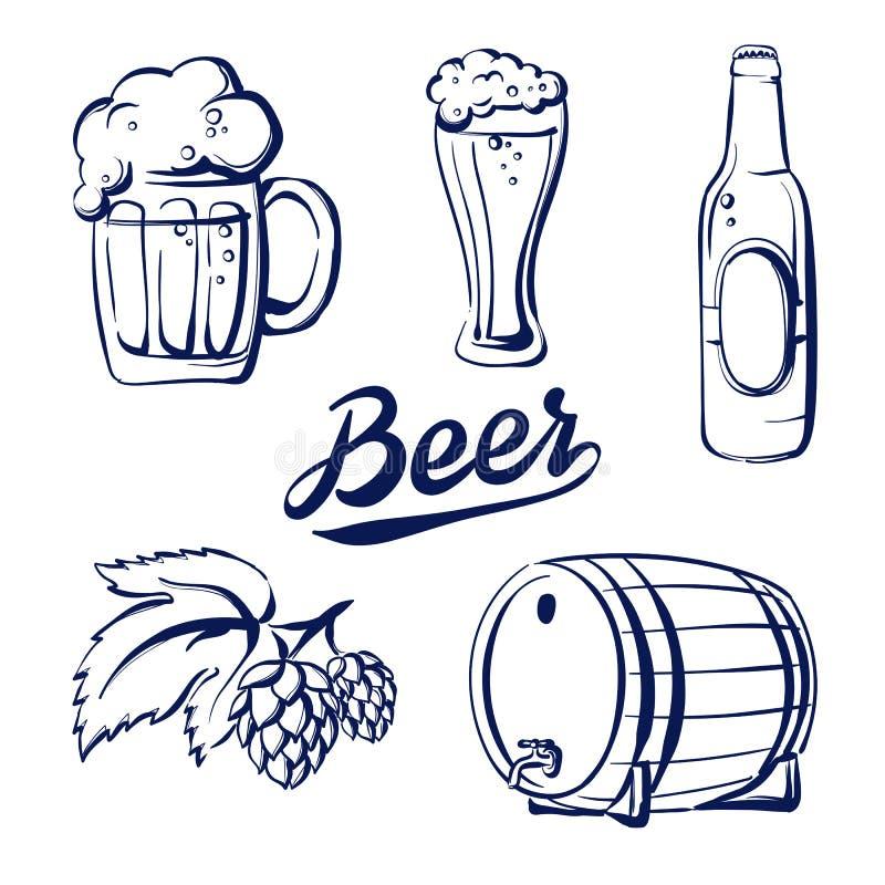 Fastställt öl för symbol stock illustrationer