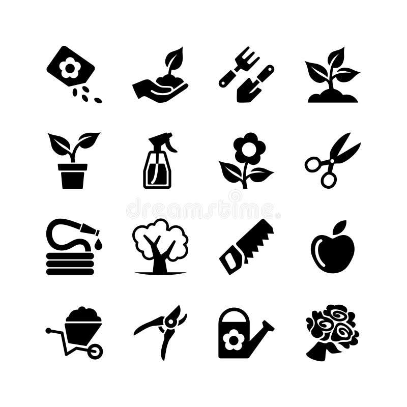 Fastställt arbeta i trädgården för rengöringsduksymbol stock illustrationer