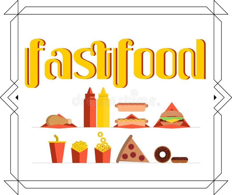 Fastställt baner för Fastfood royaltyfri bild