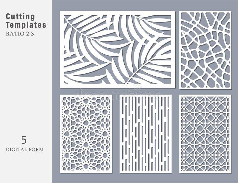 Fastställt dekorativt kort för att klippa Abstrakt geometriskt linjärt royaltyfri illustrationer