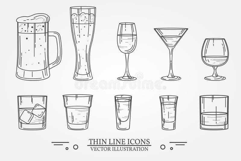 Fastställt drinkalkoholexponeringsglas för öl, whisky, vin, tequila, konjak, champagne, konjak, coctailar, starksprit Vektorillus vektor illustrationer
