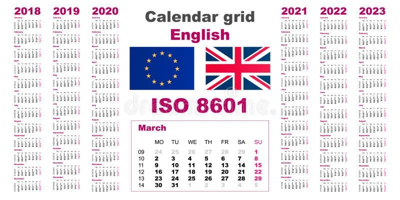 Fastställt engelska för rasterväggkalender för 2018, 2019, 2020, 2021, 2022, 2023, ISO 8601 med veckor stock illustrationer