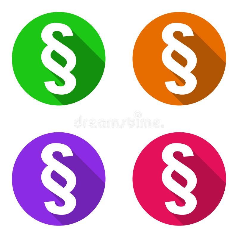Fastställt färgrikt plant symbolsavsnitt för vektor stock illustrationer