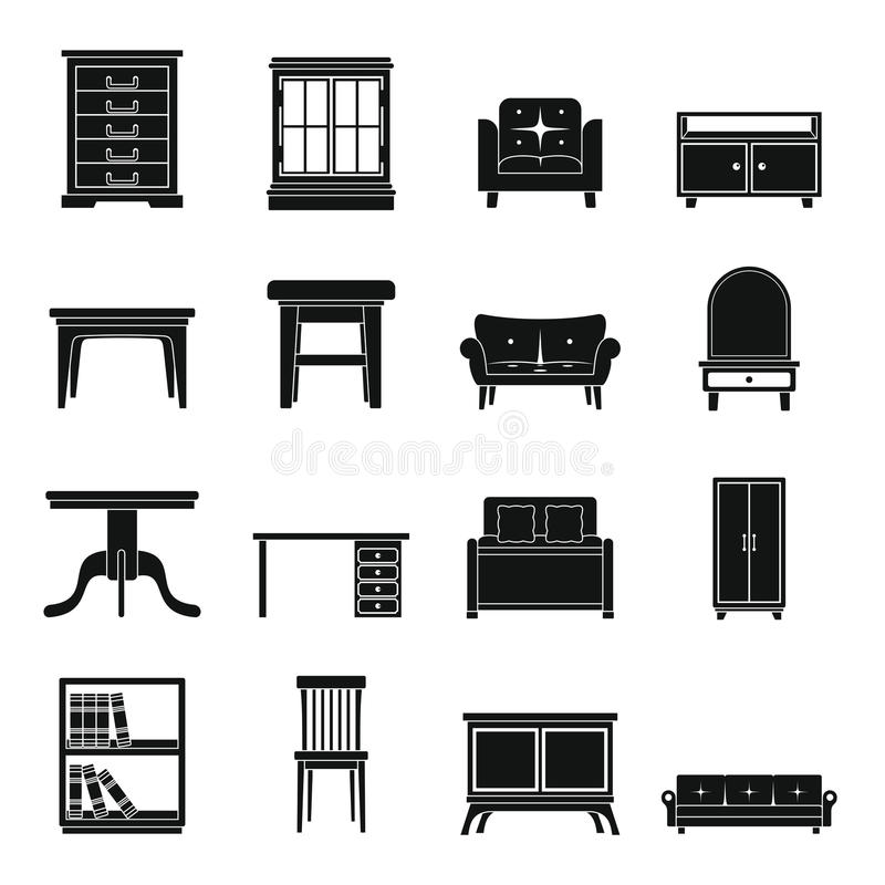 Fastställt för för konturkontor och hus för plan svart möblemang vektor illustrationer