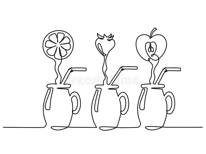 Fastställt fruktsaftflöde i fortlöpande en linje för exponeringsglas vektor illustrationer