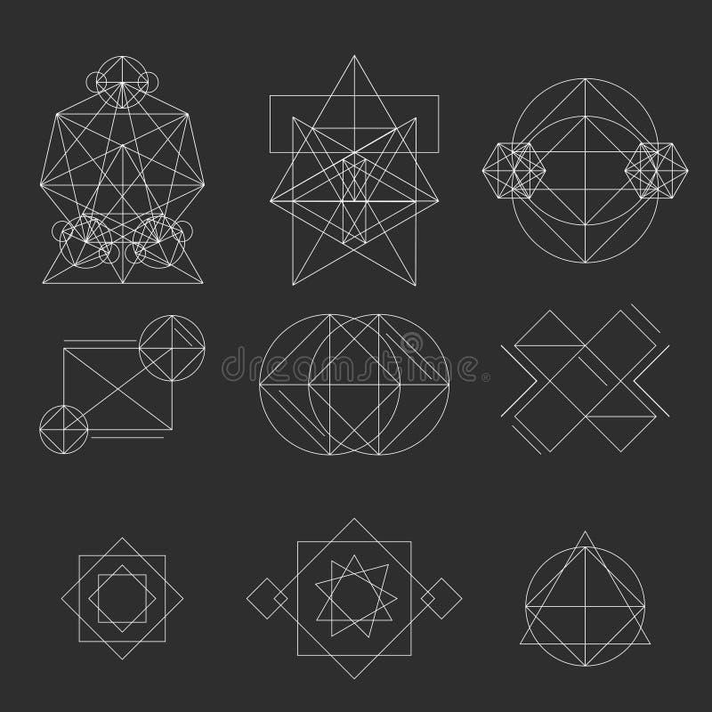 Fastställt geometriskt tecken, etiketter och ramar trianglar Linje designbeståndsdelar, illustration royaltyfri illustrationer