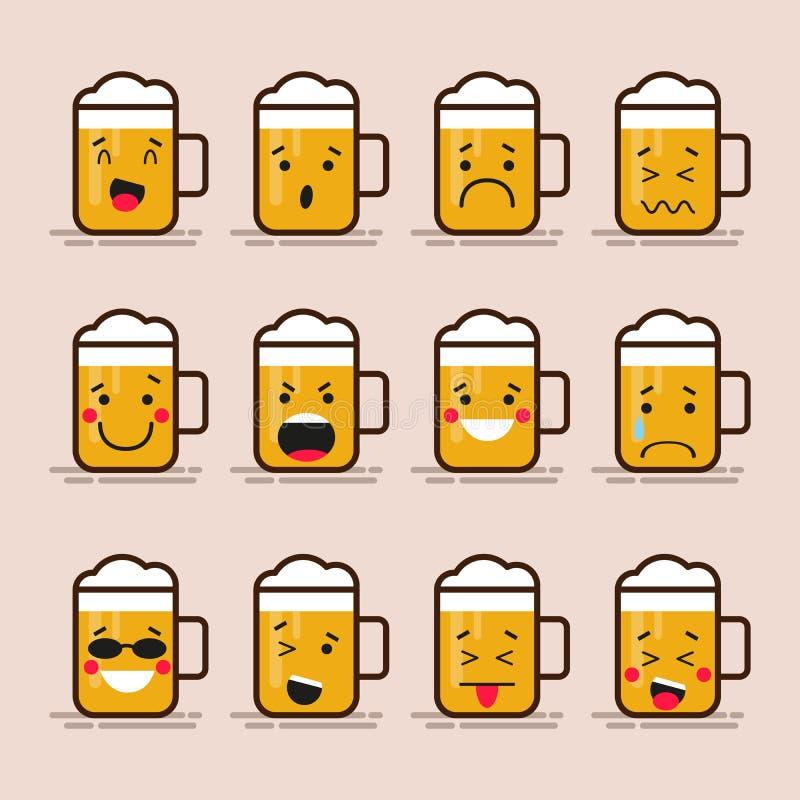 Fastställt gulligt plant designexponeringsglas av ölteckenet med olika ansiktsuttryck, sinnesrörelser Isolerad samling av emoji royaltyfri illustrationer
