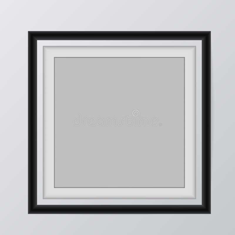 Fastställt hänga för tom mall för bildram på väggen vektor illustrationer