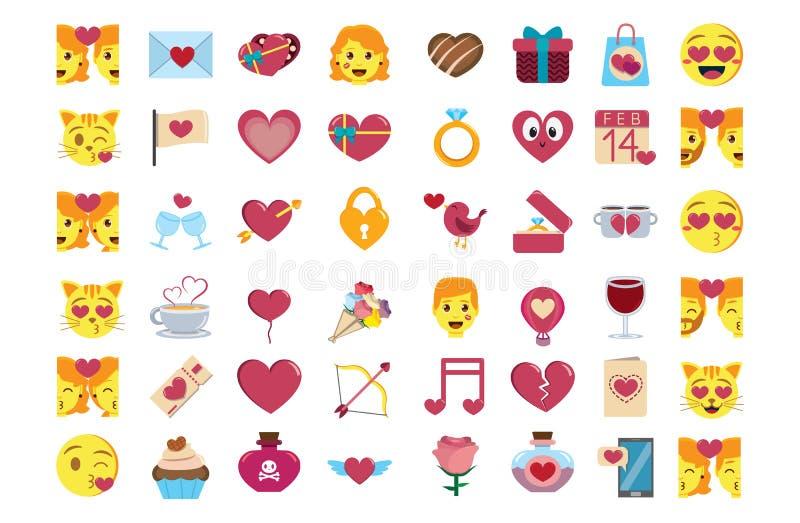 Fastställt isolerat gulligt färgrikt för emojis för kawaiihelgonvalentin vektor illustrationer