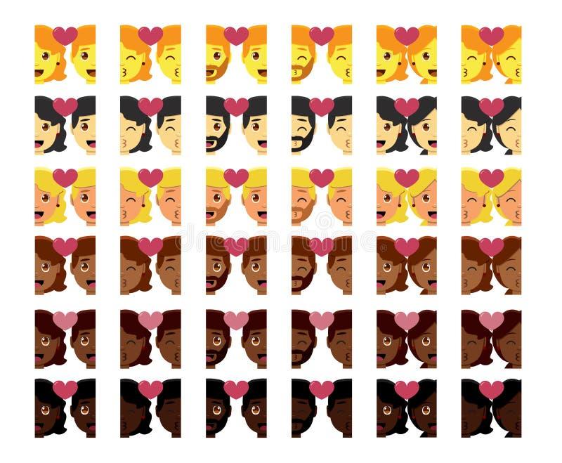 Fastställt isolerat gulligt färgrikt för kawaiiparemojis royaltyfri illustrationer