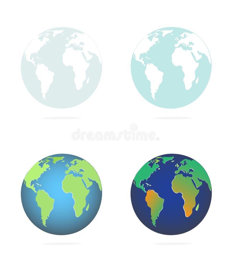 Fastställt jordklot för symbol som visar kontinentjorden vektor illustrationer