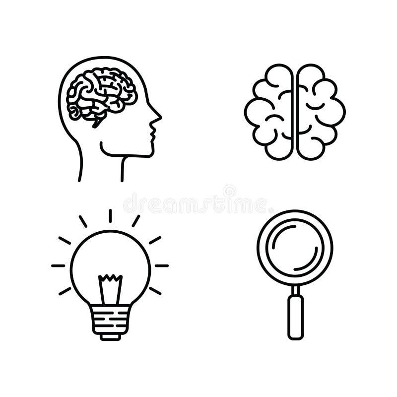 Fastställt konturmanhuvud med hjärn- och kulaidé vektor illustrationer