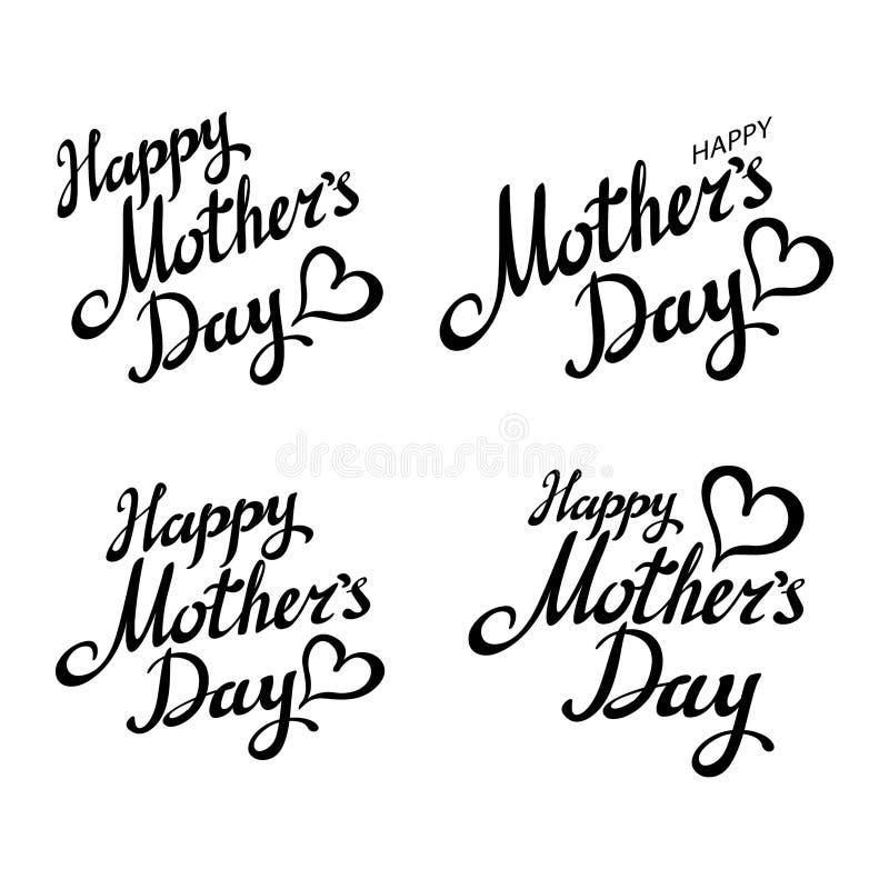 Fastställt lyckligt mors daghälsningkort Svart kalligrafiinskrift stock illustrationer