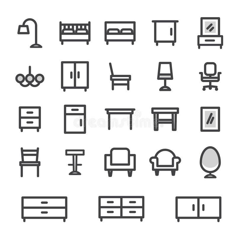 Fastställt möblemang för vektorsymboler för hem- och kontorsinre vektor illustrationer