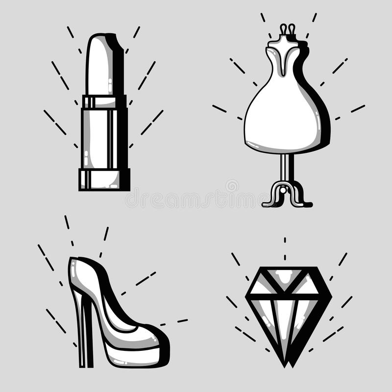 Fastställt mode lappar moderiktig design stock illustrationer