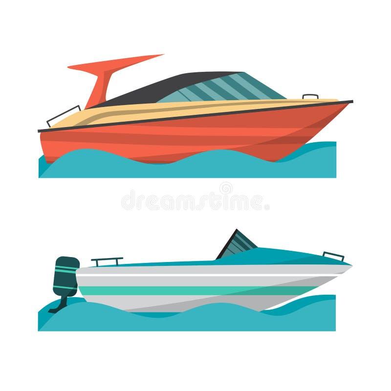 Fastställt motoriskt fartyg och litet fartyg med utombordsmotorn royaltyfri illustrationer