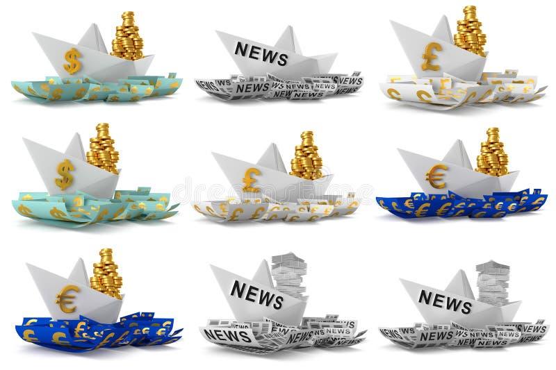 Fastställt pappers- fartyg royaltyfri illustrationer