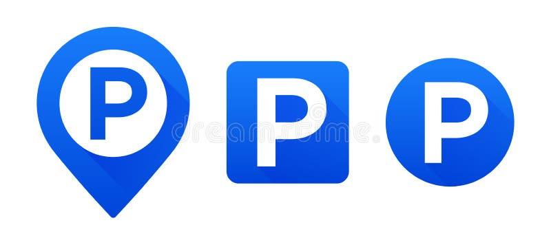 Fastställt parkeringstecken för vektor Översiktsparkeringspekare Fastställda parkeringssymboler för vektor Ptecken stock illustrationer
