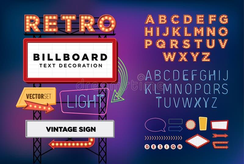 Fastställt Retro neontecken för vektor, tappningaffischtavla, ljus skylt royaltyfri illustrationer