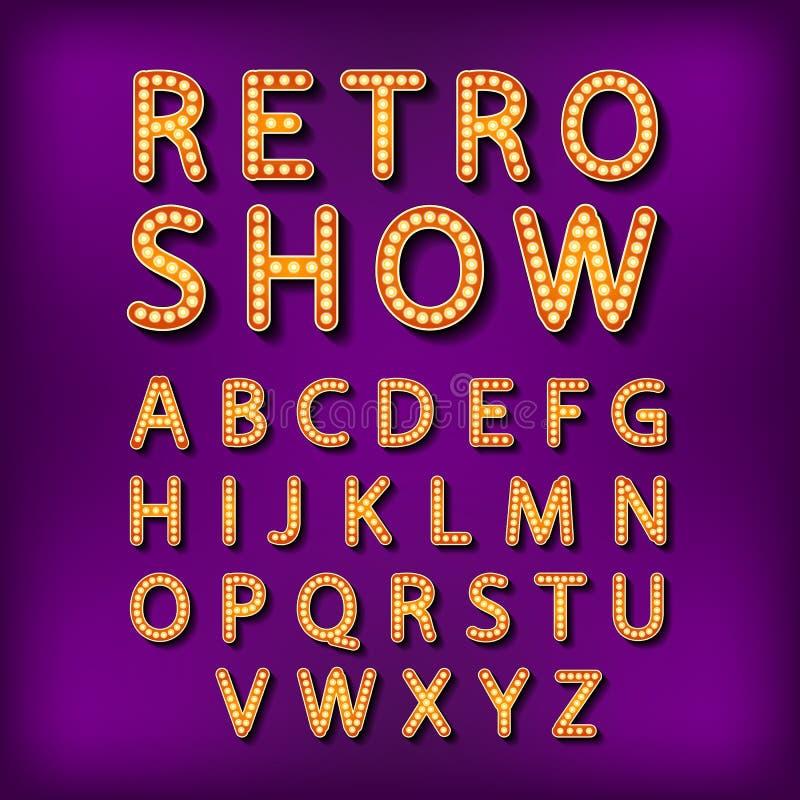 Fastställt Retro neontecken för vektor, tappningaffischtavla, ljus skylt, ljust baner royaltyfri illustrationer
