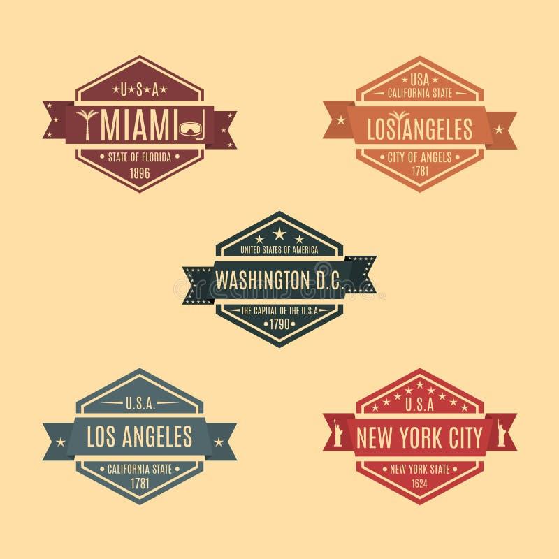 Fastställt sexhörnigt emblem med namnet av USA-städer, vektorillustration vektor illustrationer