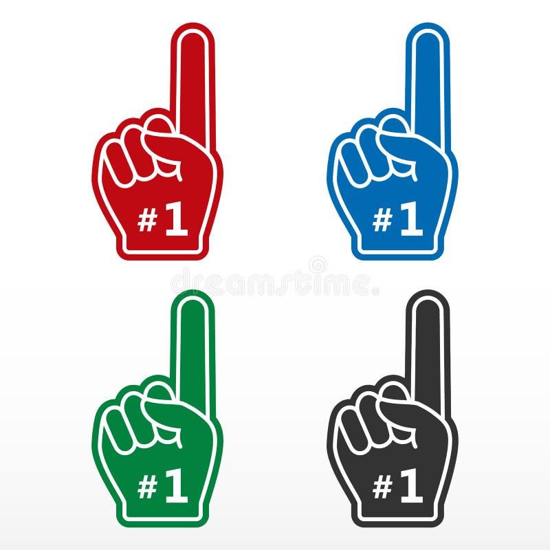 Fastställt skumfinger Numrera 1, handske med fingret som framlänges lyfts, fanhanden vektor illustrationer