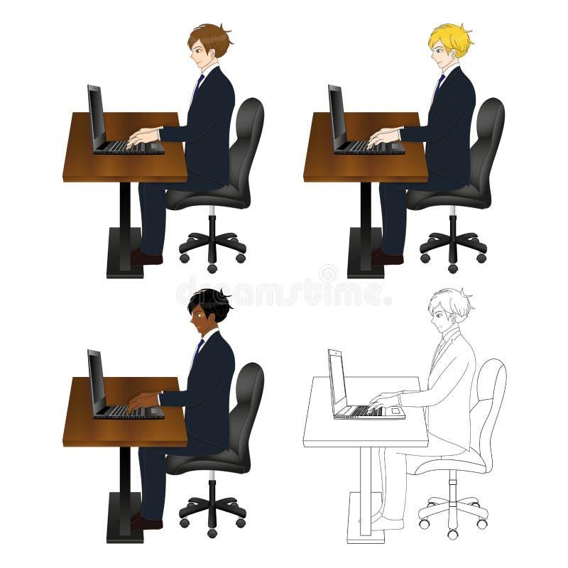 Fastställt stiligt sammanträde för affärsman med bärbara datorn huvuddel full stock illustrationer