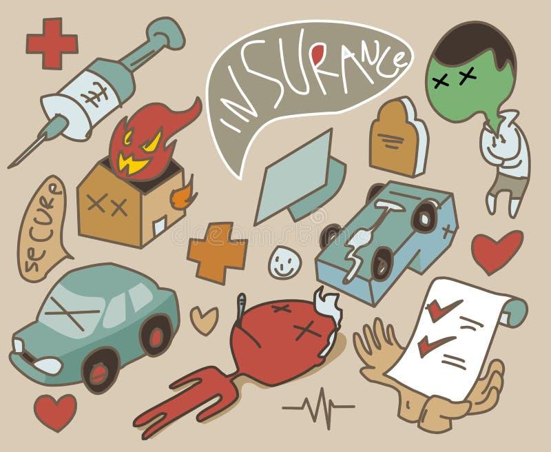 Fastställt symbol för försäkring stock illustrationer