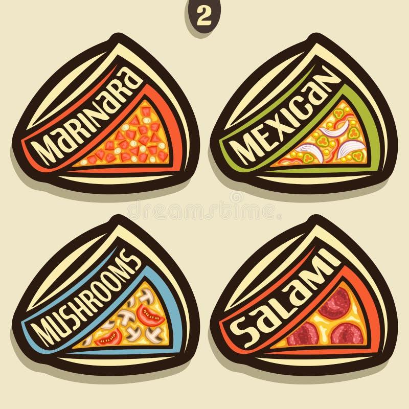 Fastställt tecken för vektor för italiensk pizza vektor illustrationer