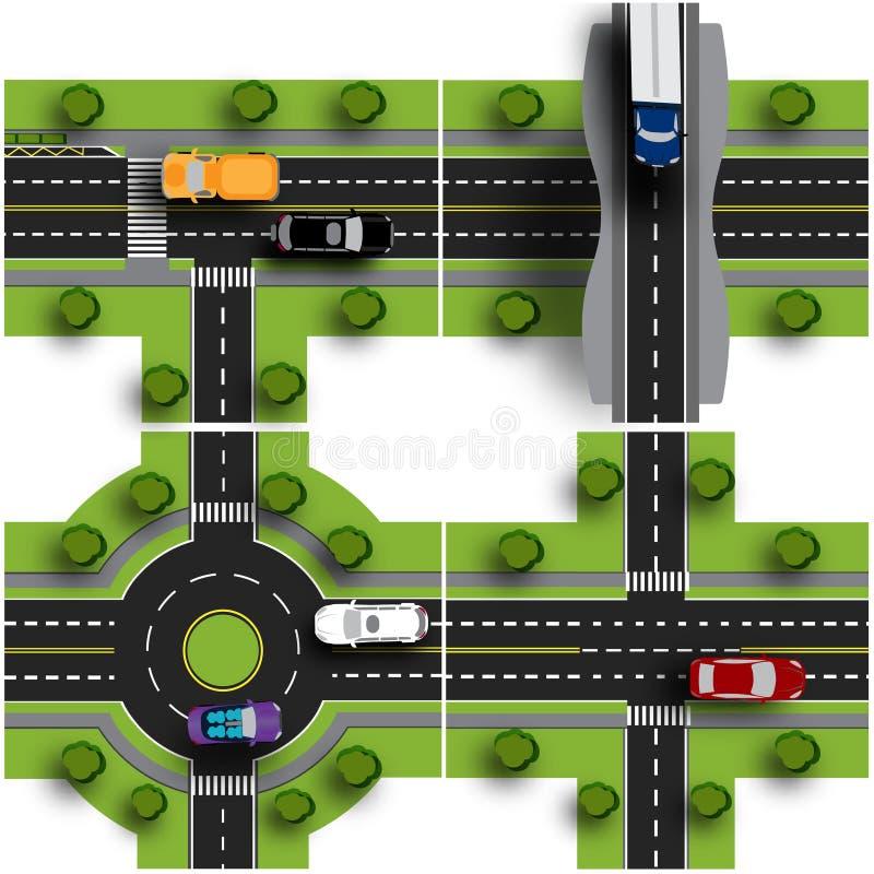Fastställt transportnav Genomskärningarna av olika vägar Tillkrånglad cirkulation trafik Objekt med skugga royaltyfri illustrationer