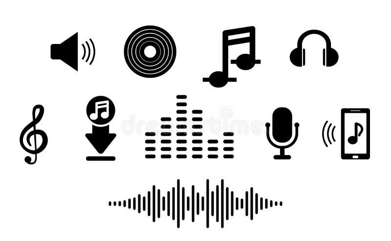Fastst?lld musiksymbol i l?genhet F?r smart telefonapp vektor illustrationer