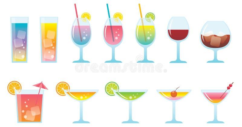 fastst?lld samling f?r alkoholiserad coctaildryckvektor stock illustrationer