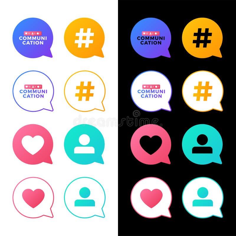 Fastst?lld vektorillustration av ett socialt massmediakommunikationsbegrepp Kommunikationsord med symboler f?r social aktivitet i royaltyfri illustrationer
