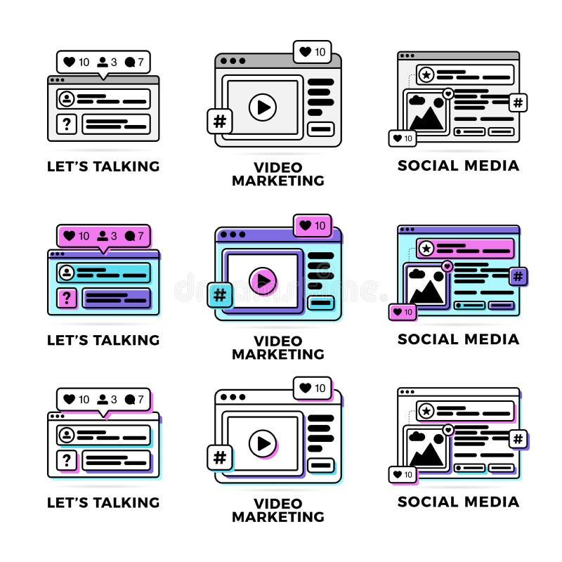 Fastst?lld vektorillustration av ett socialt massmediakommunikationsbegrepp socialt massmedia med f?rgrika kors-plattform webbl?s royaltyfri illustrationer