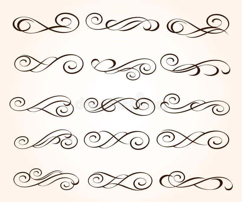 Fastst?llda eleganta dekorativa snirkelbest?ndsdelar ocks? vektor f?r coreldrawillustration stock illustrationer