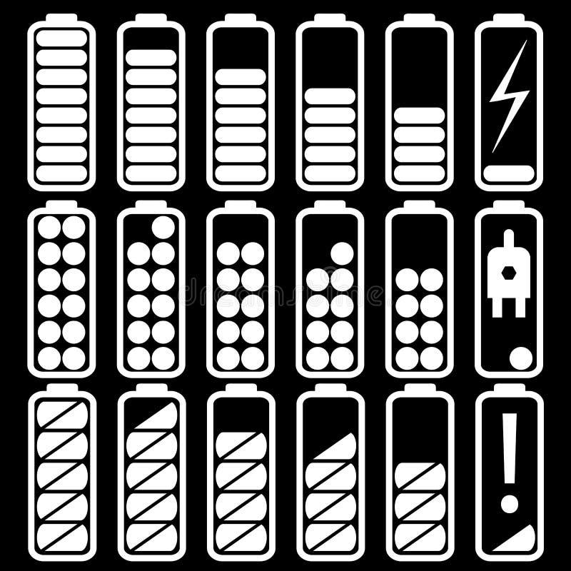 Fastst?llda plana reng?ringsduksymboler laddar j?mna indikatorer, batterier och ackumulatorer stock illustrationer