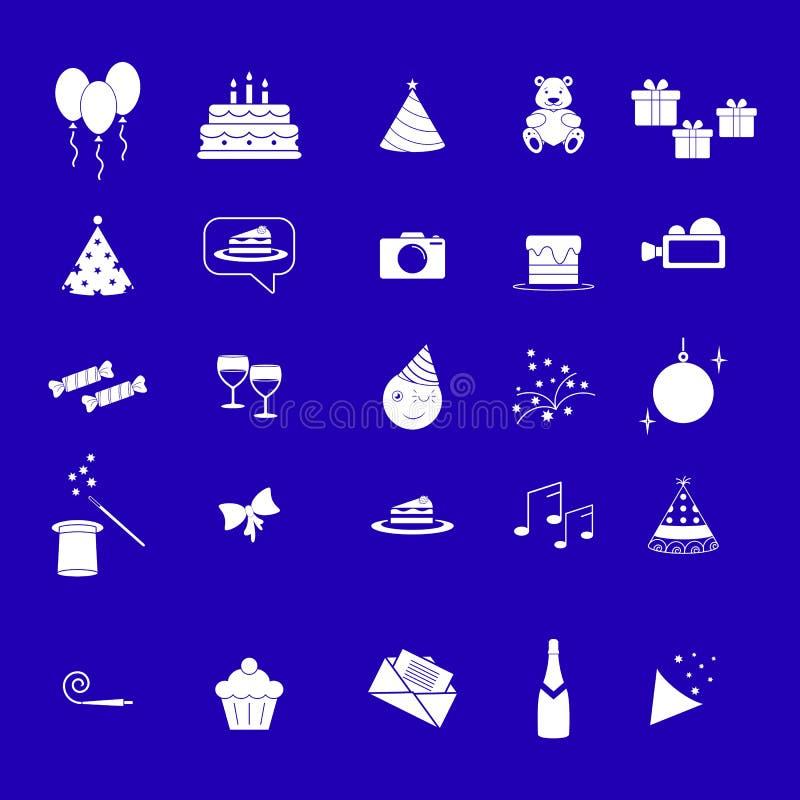 Fastst?llda symboler f?r dag f?r otf?delsedagparti hapy stock illustrationer