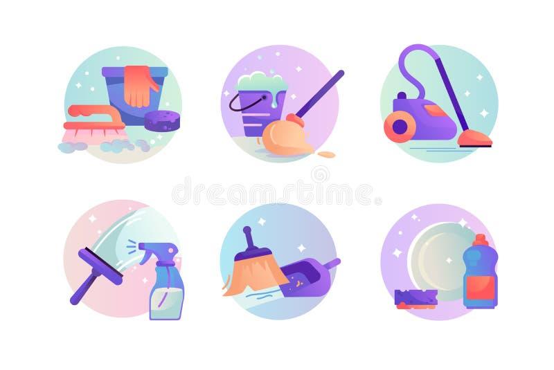 Fastst?llda symboler med dammsugare, skopan och kvasten, tv?ttmedel, lokalv?rd stock illustrationer