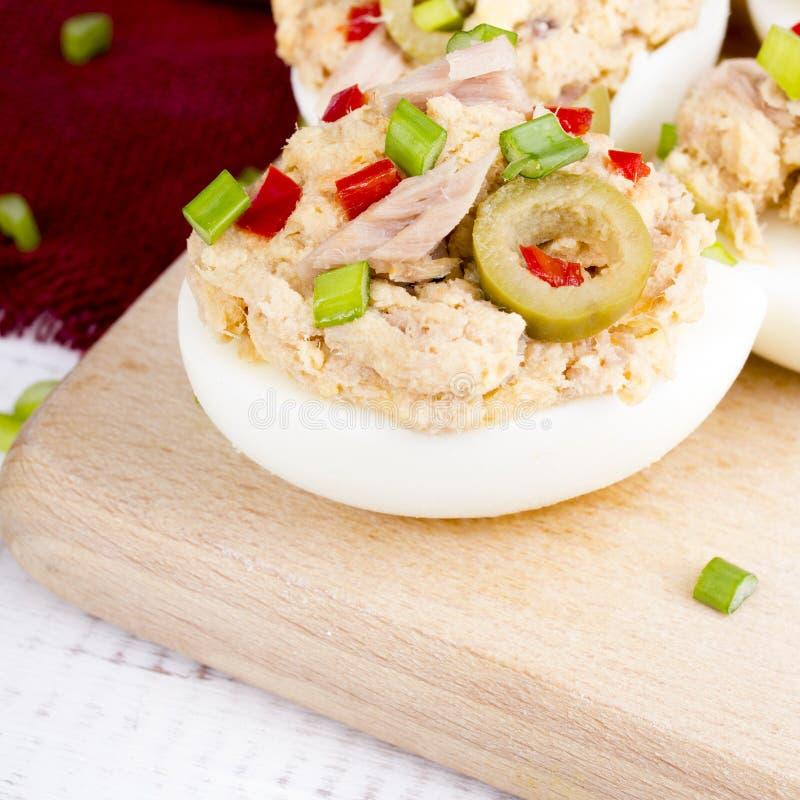 Faszerujący jajka z tuńczykiem zdjęcie royalty free