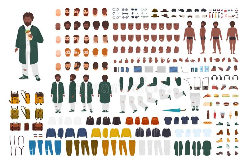 Fat African American man constructor set or DIY kit. Bundle of flat cartoon character body parts, postures, gestures. Clothes isolated on white background vector illustration