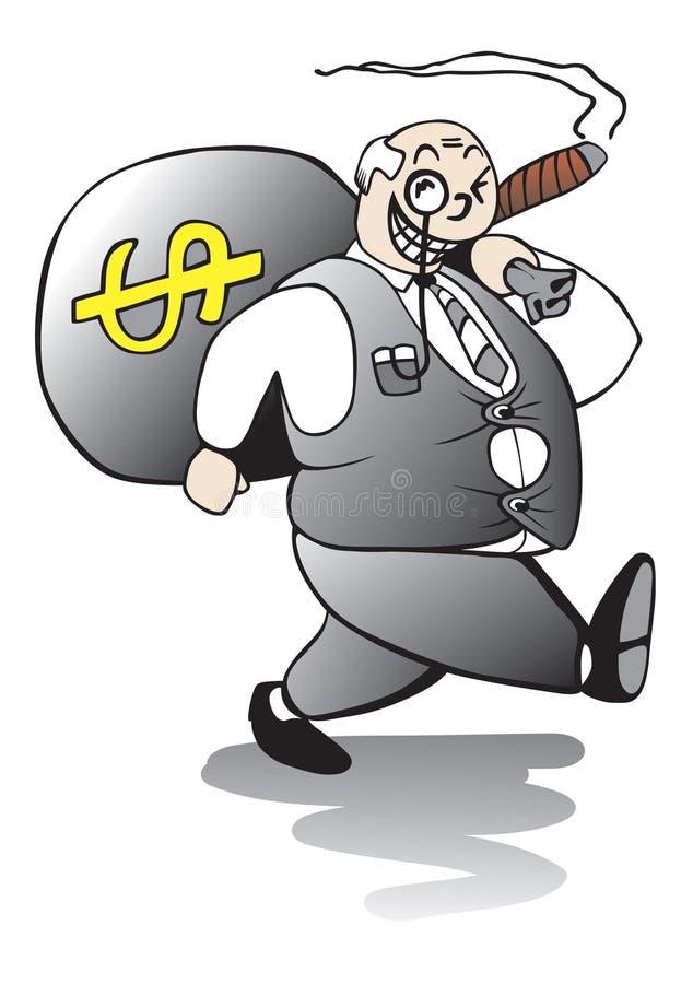 Fat Banker Walking Away With Huge Bonus Stock Photos