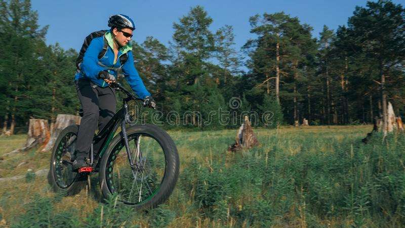 Fat bike also called fatbike or fat-tire bike in summer riding in the forest. The guy rides a bicycle among trees and stumps. He overcomes some obstacles on a stock image