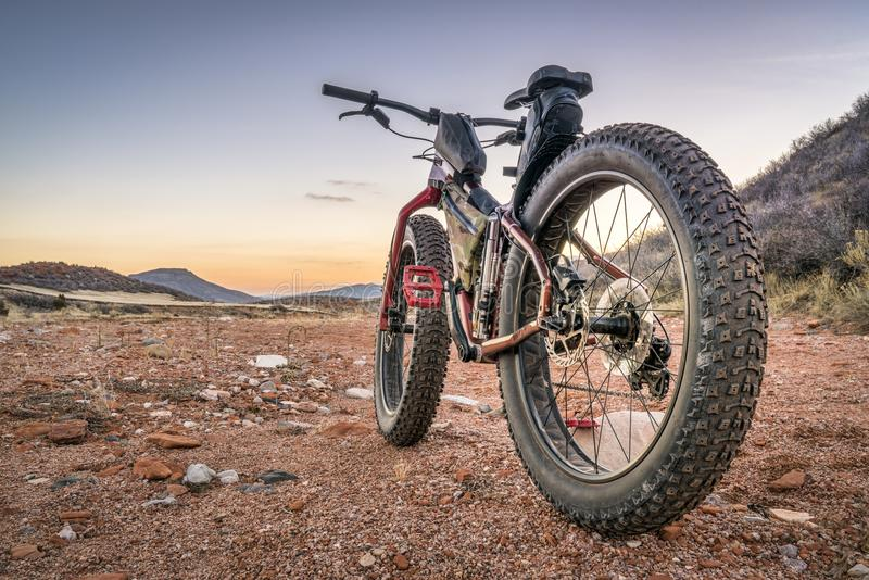 Fat bike on a desert trail with deep, loose gravel stock photography