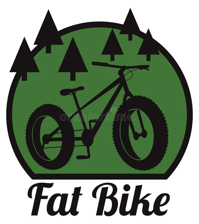 Fat bike mountain bicycle. Sport emblem royalty free illustration