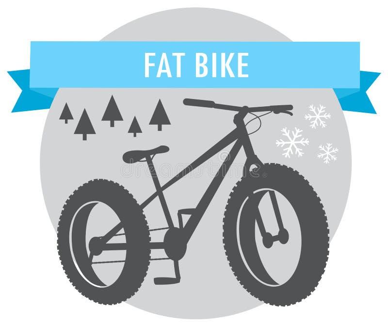 Fat bike mountain bicycle sport emblem. Vector stock illustration